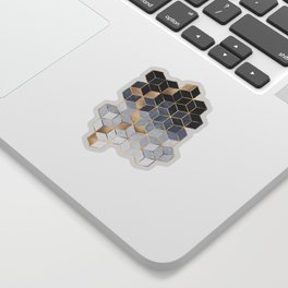 Soft Blue Gradient Cubes Sticker