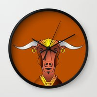 bull Wall Clocks featuring Bull by ale_z
