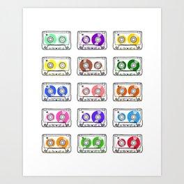 Rainbow Cassette Tapes Art Print