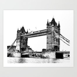 Tower bridge in White & Black! Art Print