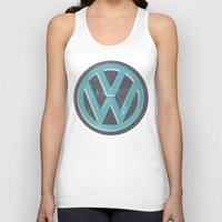 vw bus Tank Tops featuring Black Beauty VW Bus by wildVWflower