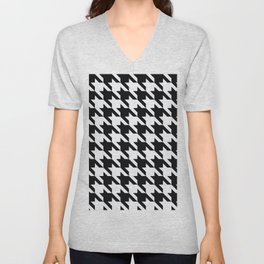 Classic Houndstooth Black and White Large Retro Dog Tooth Pattern Fashion Unisex V-Neck