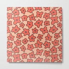 Peachy Star Flower Pattern Metal Print