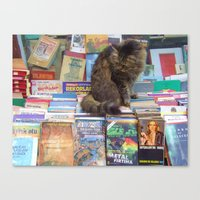literary Canvas Prints featuring A Literary Puss by thejennii