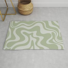 Liquid Swirl Abstract Pattern in Sage Green and Light Sage Gray Rug