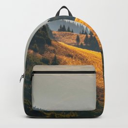 Parallax Landscape Rolling Hills Photo Nature In Morning Sunlight Backpack