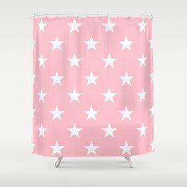 Stars (White/Pink) Shower Curtain