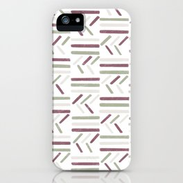 Linear Trouble // Basket Weave Design in pastel colours, red, beige, olive green  iPhone Case