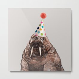Moody Walrus with Party Hat Metal Print