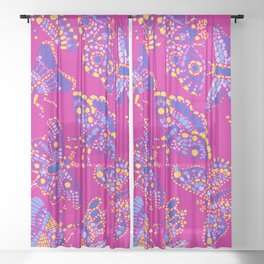 Butterfly Pattern Blue Pink Sheer Curtain
