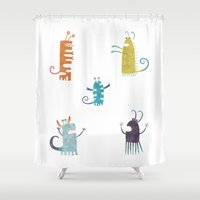vegetarian Shower Curtains featuring Secretly Vegetarian Monsters by Nic Squirrell