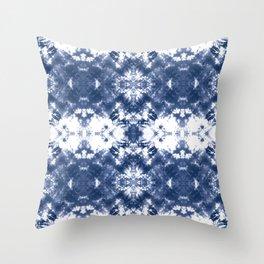 Shibori Tie Dye Indigo Blue Throw Pillow