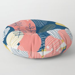 Mid Modern Nature 2.5 Coral, blue & Gold Floor Pillow