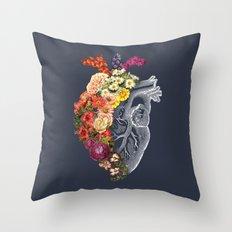 Flower Heart Spring Blue Grey Throw Pillow
