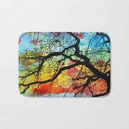 Painting Colorful Landscape Trees Nature Bath Mat