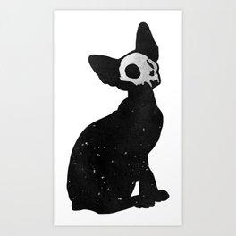 Black Cat Skull Art Print
