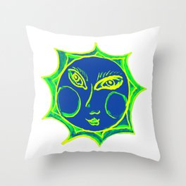 Smiling Green Sun with Blue Face Throw Pillow