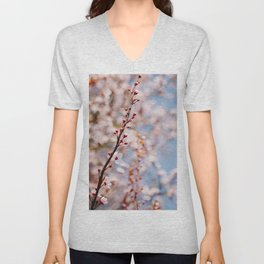 Photo of spring cherry blossom flowers during golden hour in Almere, Japanese Sakura trees in the Netherlands II | Fine Art Colorful Travel Photography | Unisex V-Neck