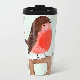 Robin in a Winter Garden Travel Mug
