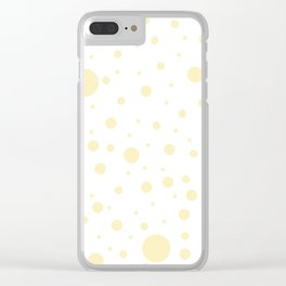 Mixed Polka Dots - Blond Yellow on White Clear iPhone Case