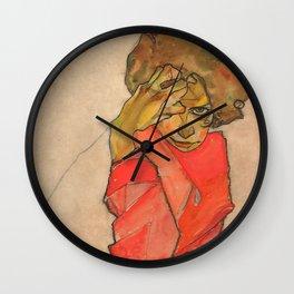 """Egon Schiele """"Kneeling Female in Orange-Red Dress"""" Wall Clock"""