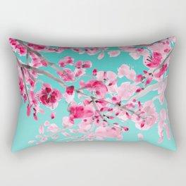 Cherry Blossom Aqua Rectangular Pillow