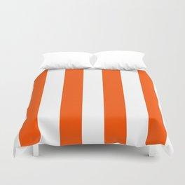 Vertical Stripes - White and Dark Orange Duvet Cover
