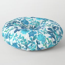 Garden Leaves in Aqua, Turquoise and Cobalt Blue Floor Pillow