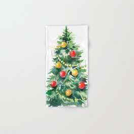 Christmas Tree Watercolors Illustration Hand & Bath Towel