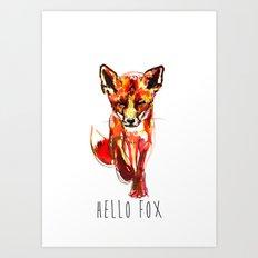 Cute Little Red Fox water colour ink Art Print