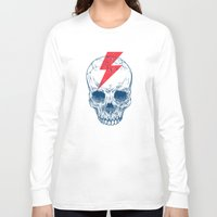 eyes Long Sleeve T-shirts featuring Skull Bolt by Rachel Caldwell