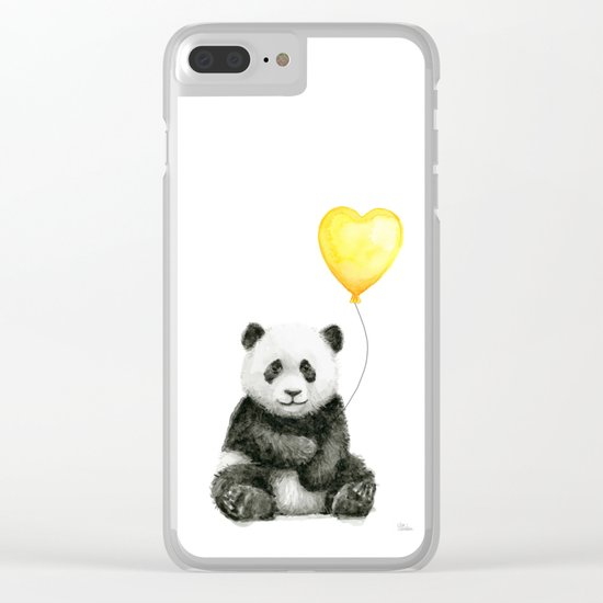 Panda with Yellow Balloon Baby Animal Watercolor Nursery Art Clear iPhone Case