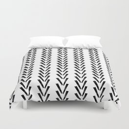 Linocut abstract minimal chevron pattern basic black and white decor Duvet Cover