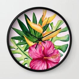 Tropical Hibiscus Summer Bouquet Wall Clock