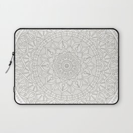 Gray Circle of Life Mandala on White Laptop Sleeve