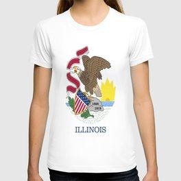 flag illinois,america,usa,midwest,Land of Lincoln,Prairie State,Illinoisan,Chicago,Aurora,Rockford T-shirt