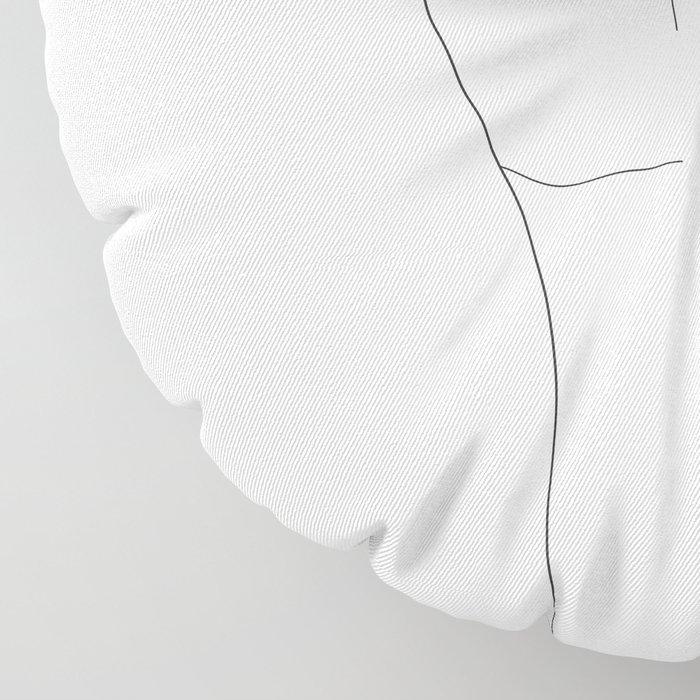 Minimal Line Art Shaka Hand Gesture Floor Pillow