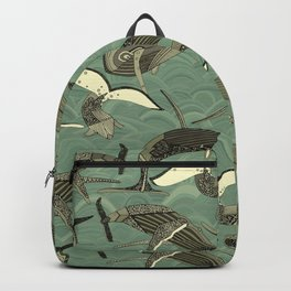 whales and waves aqua Backpack