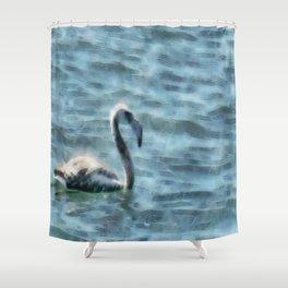 Fledgling Flamingo At Sea Watercolor Shower Curtain