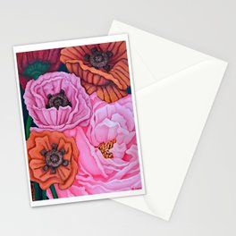 Pink Rose and Four Poppies, acrylic, 2004 Stationery Cards