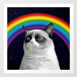 cat all over galaxy rainbow puke Space Crazy Cats Art Print