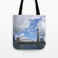 toronto Tote Bags featuring Toronto by Rose&BumbleBee