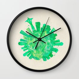 Seattle, Washington Colorful Skyround / Skyline Watercolor Painting Wall Clock