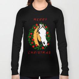 Retro 8-Bit Merry Christmas Horse shirt Long Sleeve T-shirt