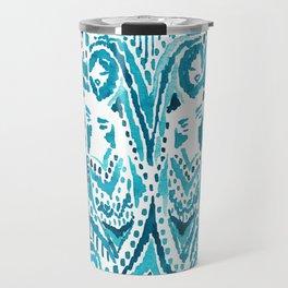 #MERMLIFE Blue Ikat Watercolor Mermaids Travel Mug