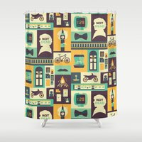 risa rodil Shower Curtains featuring Empty Hearse by Risa Rodil