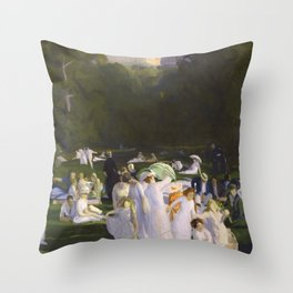 Millionaire's Row, Ladies dressed in white in hats and umbrellas, June Day by George Wesley Bellows Throw Pillow