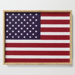 "Stars & Stripes flag, painterly ""old glory"" Serving Tray"