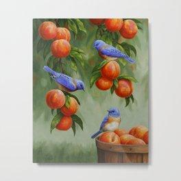 Bluebirds and Peaches Metal Print