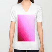 hot pink V-neck T-shirts featuring Pink Ombre by SimplyChic